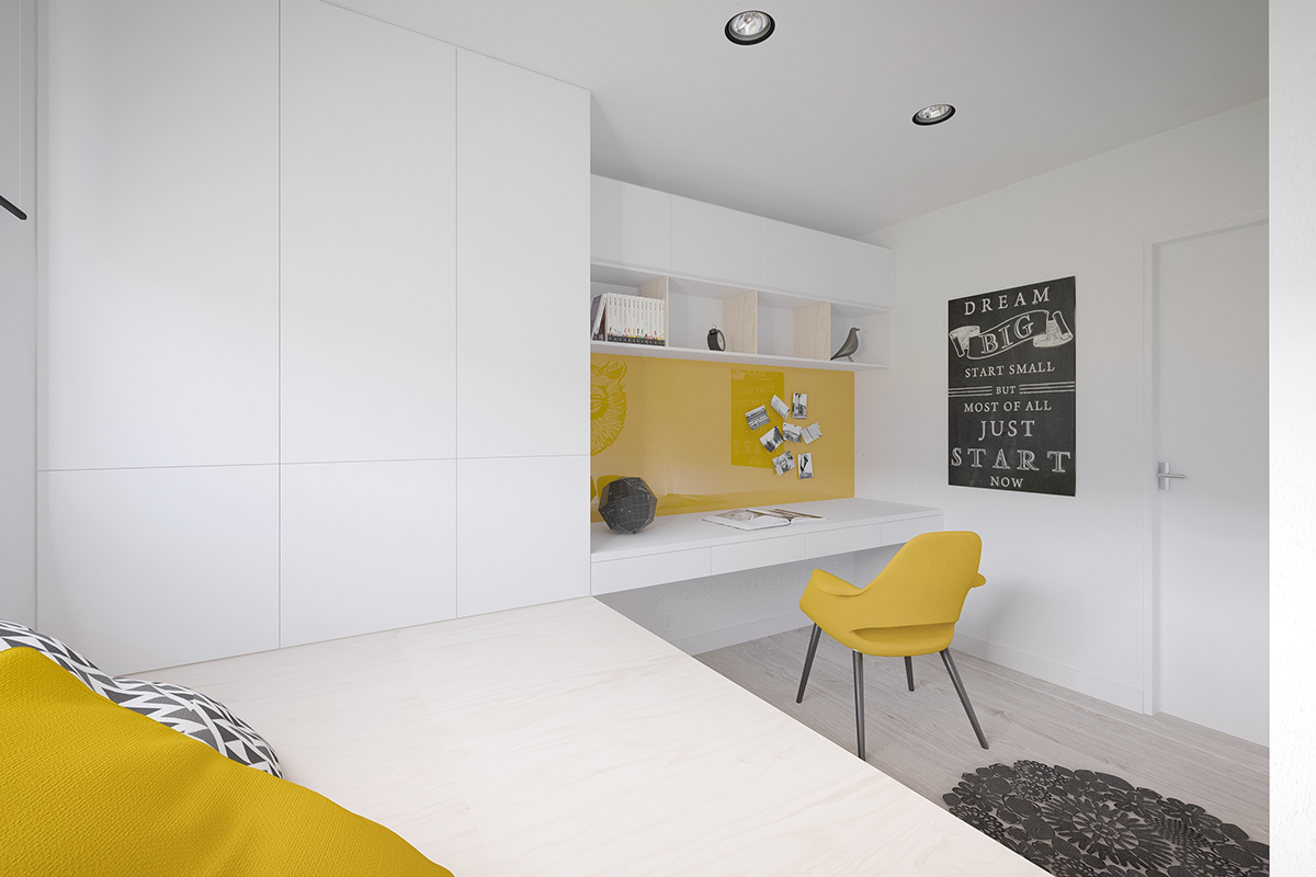 White Room Walls - 50 sq meter space saving apartment layout for young family