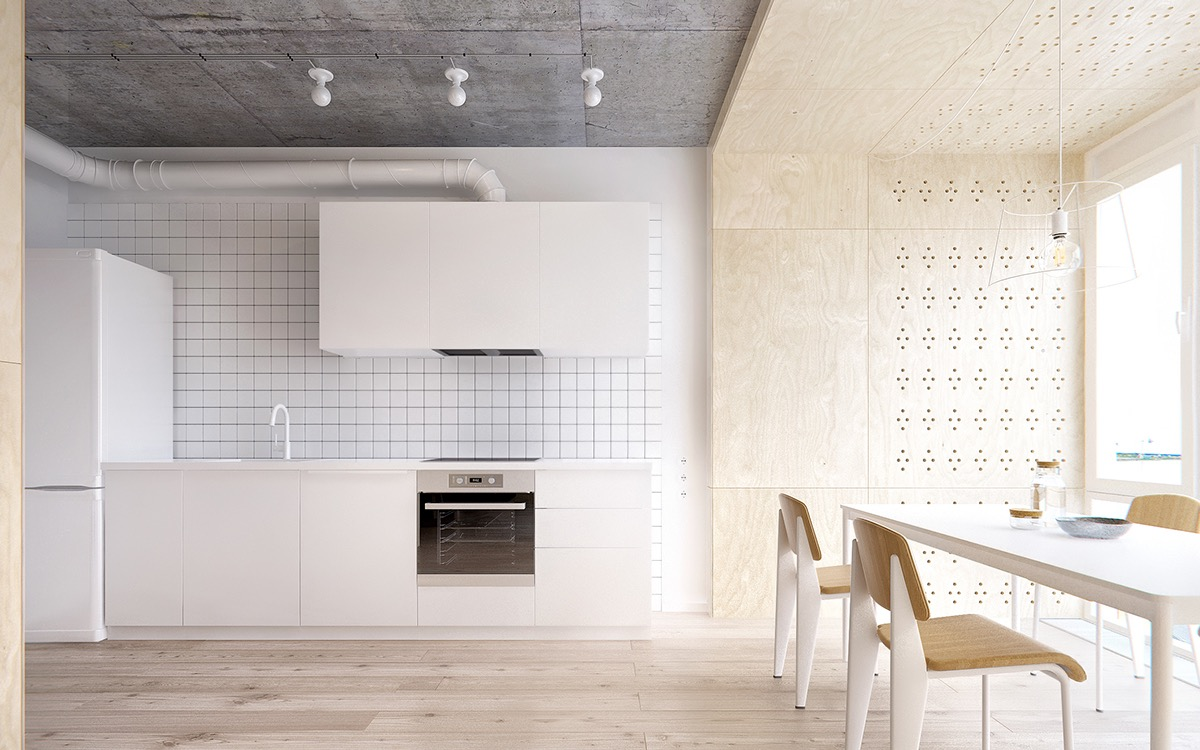 White Tile Backsplash - Minimalist apartment for a family of four