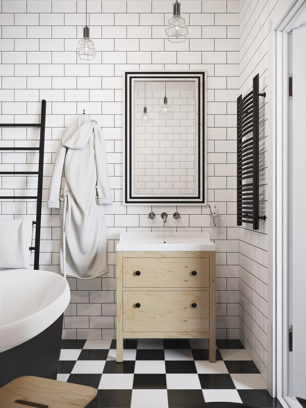 Finally the bathroom with its chic white tile walls and checked floor has a sparkling simplicity and retro appeal to die for.