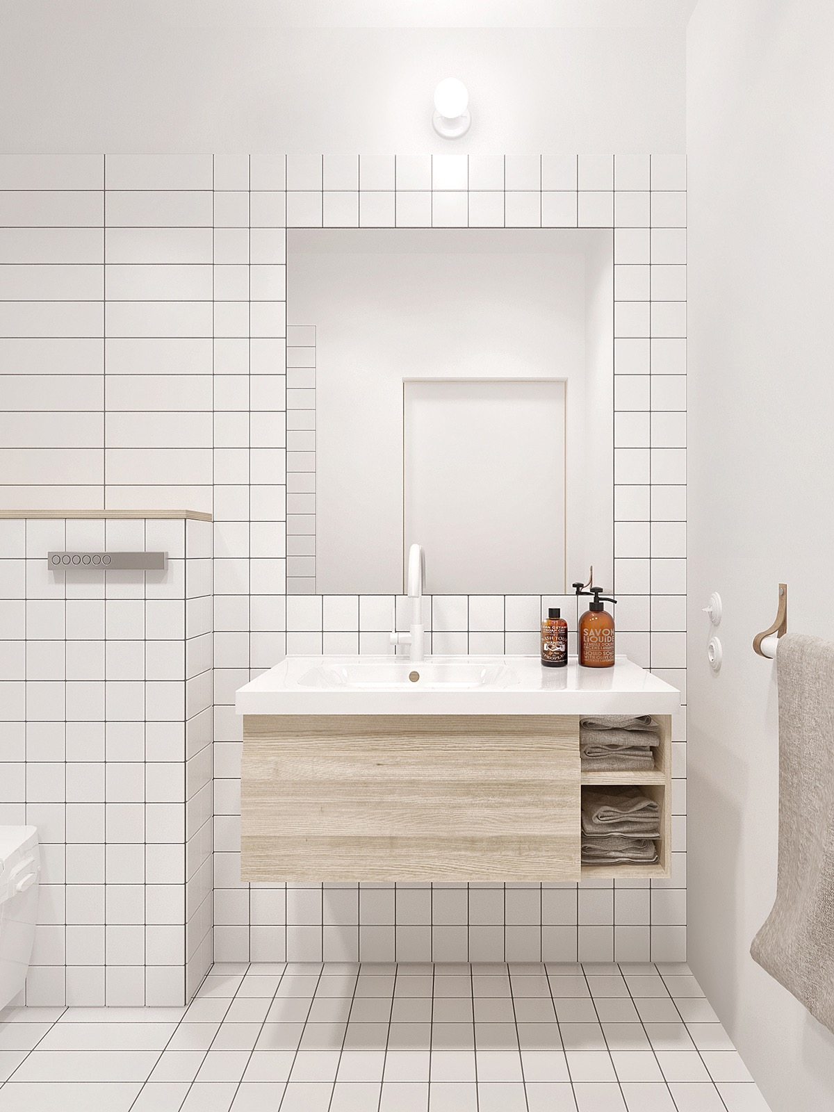 White Tile Bathroom Interior Design Ideas