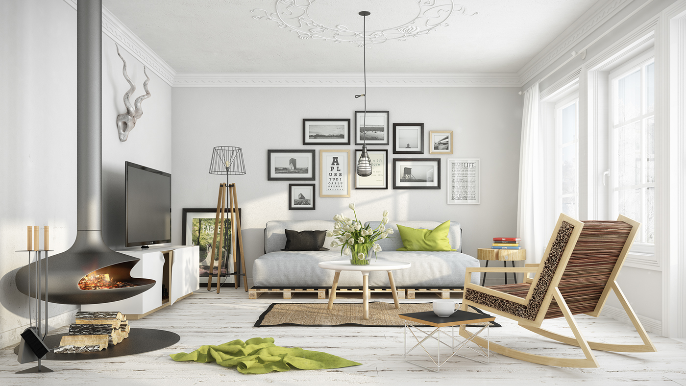 Black and white Scandinavian living room. Are you looking for unique and  beautiful art photo