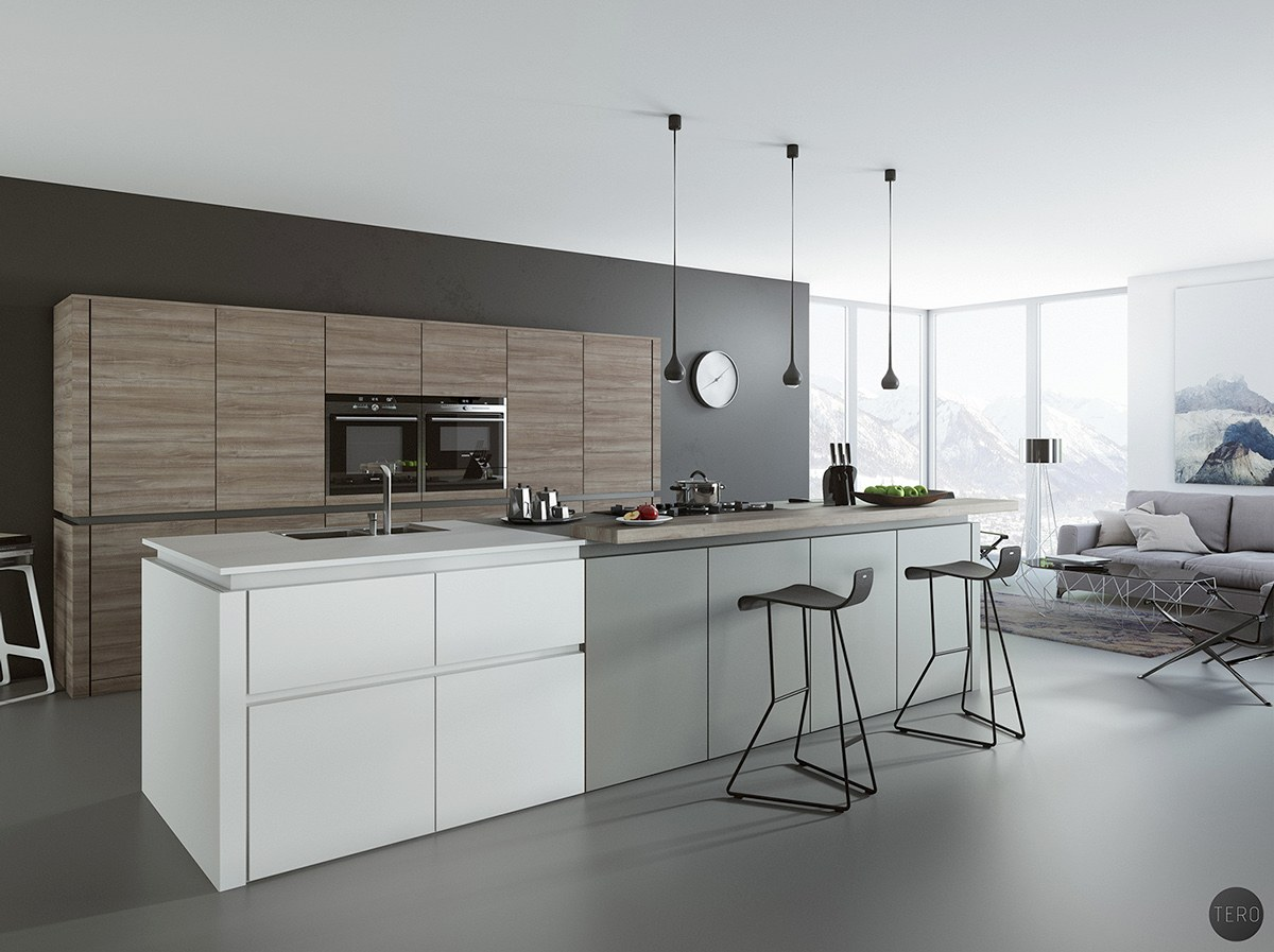 Black white wood kitchens ideas inspiration - Cuisine avec bar table ...