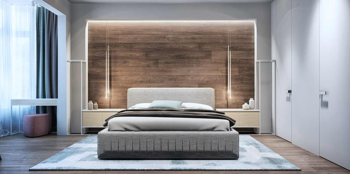 Wood Accent Wall Bedroom Interior Design Ideas