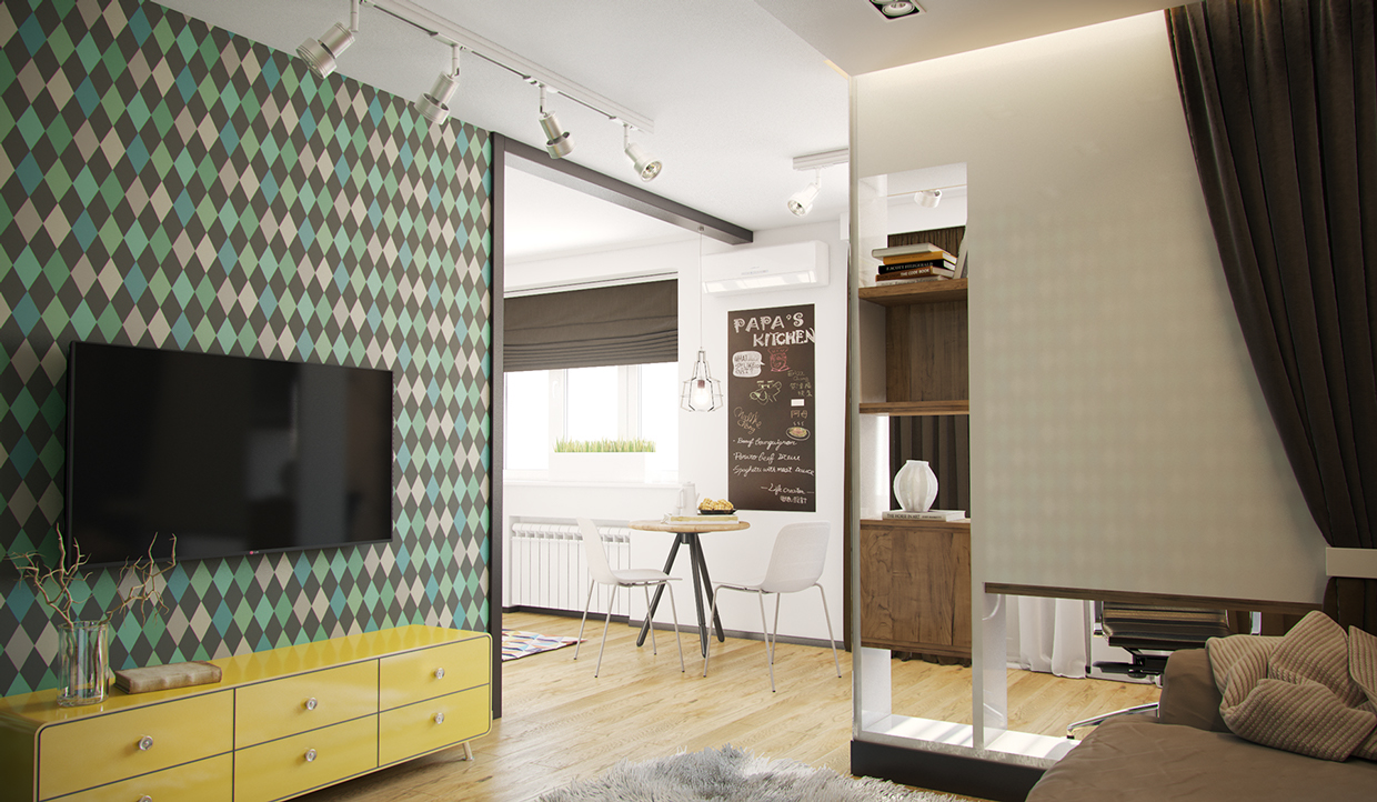 Yellow Console - 4 studios under 50 square meters that use playful patterns to good effect