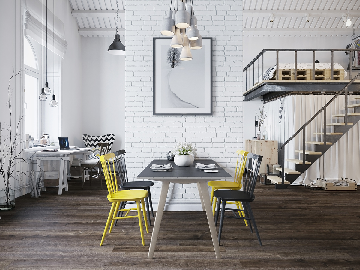 table floating dining steal show pops room chair modern along shelves accents yellow of the colorful with subtle vivacious chairs black open top
