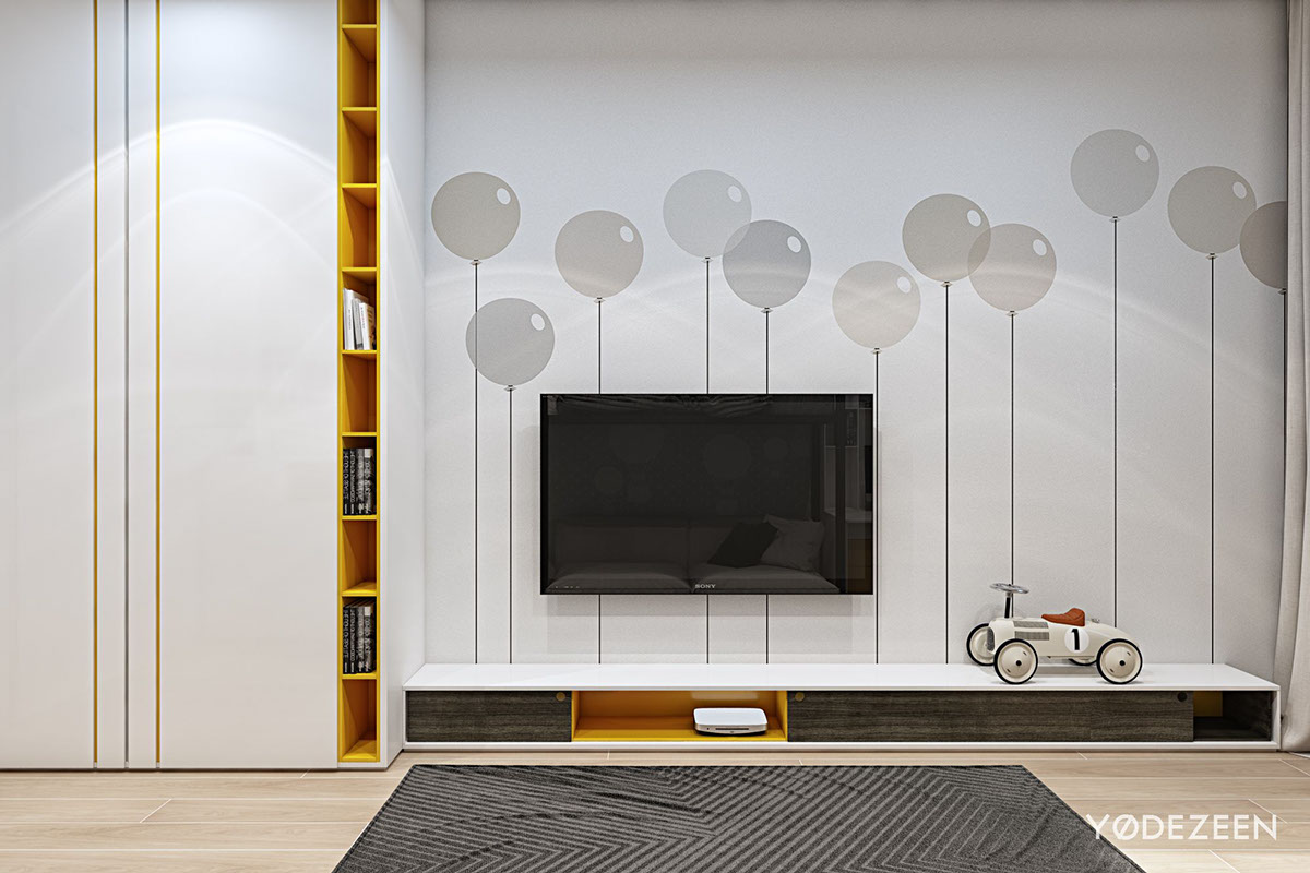 Balloon Wall Graphics - A kids friendly apartment design with lots of playful features