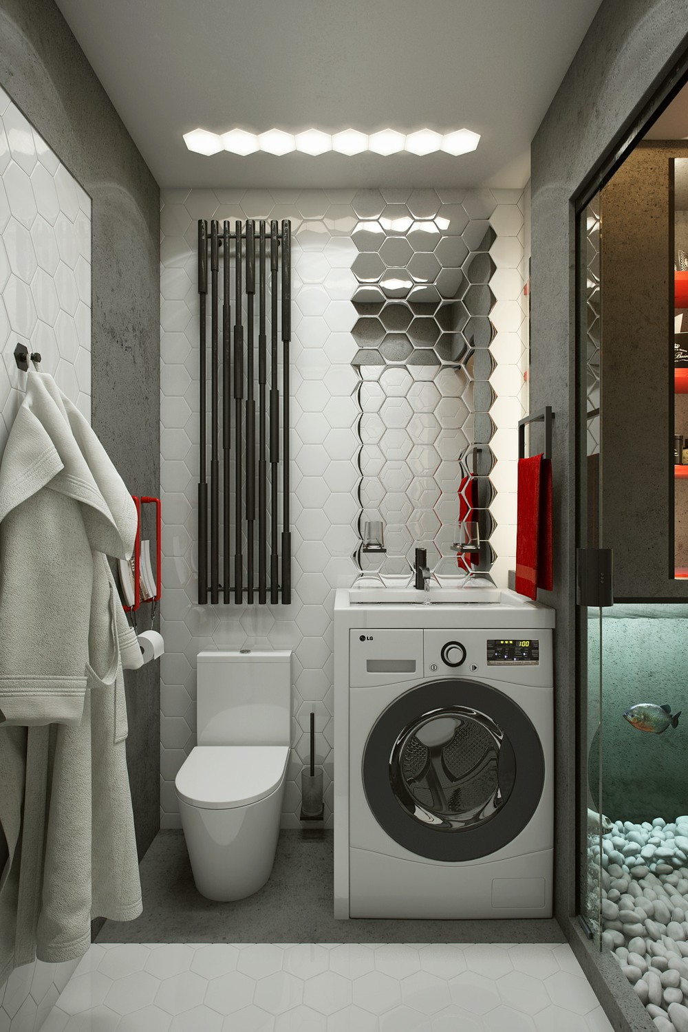 Micro home design super tiny apartment of 18 square meters for Amenagement petite salle de bain avec machine a laver