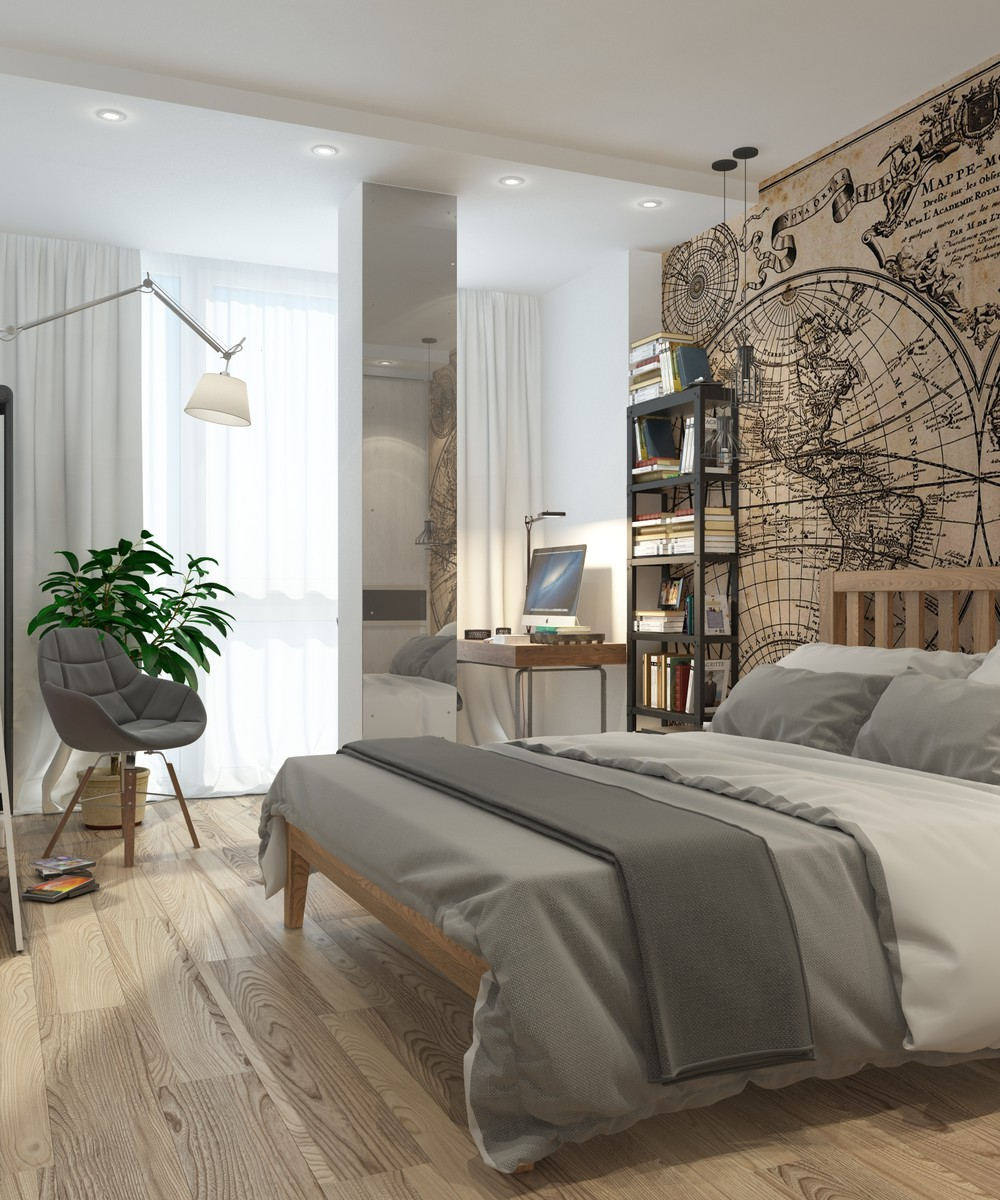 5 apartment designs under 500 square feet for One bedroom design
