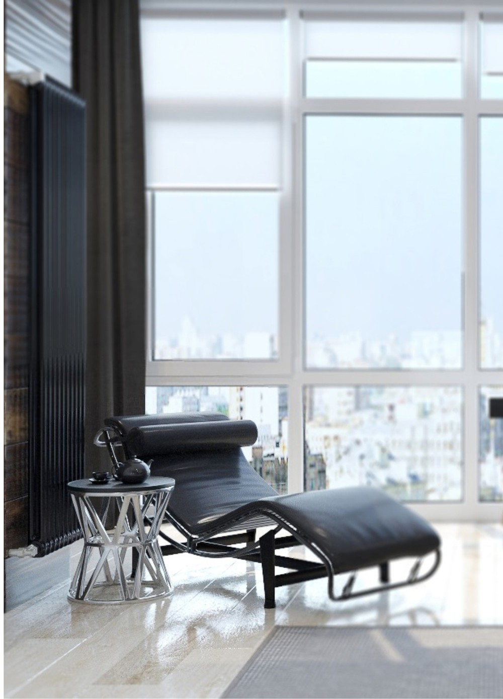 Black Chaise - Two sleek apartments with interior glass walls