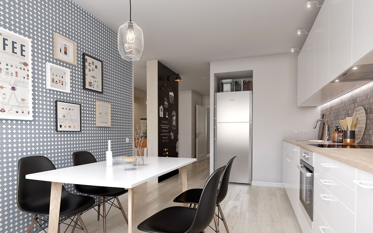 Black Eames Chairs - A midcentury inspired apartment with scandinavian tendencies