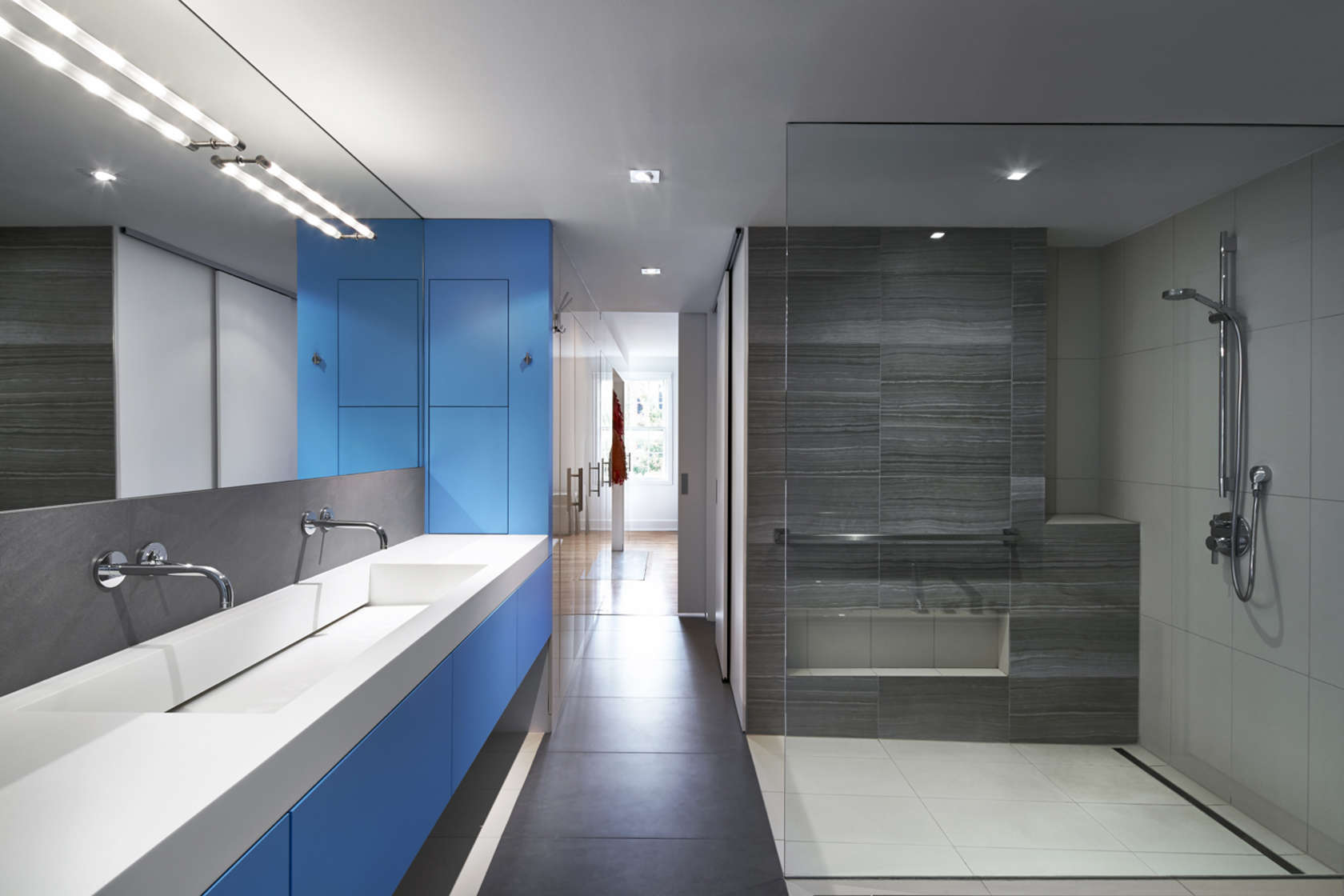 Blue Bathroom Design - A modern row house for a fun couple with a love of cooking