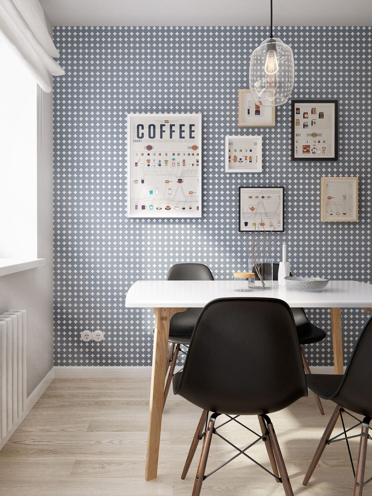 Blue scandinavian wallpaper interior design ideas for Home interior design ideas wallpapers