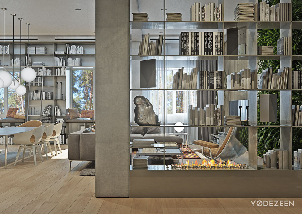 Bookshelf With Fireplace - A kids friendly apartment design with lots of playful features