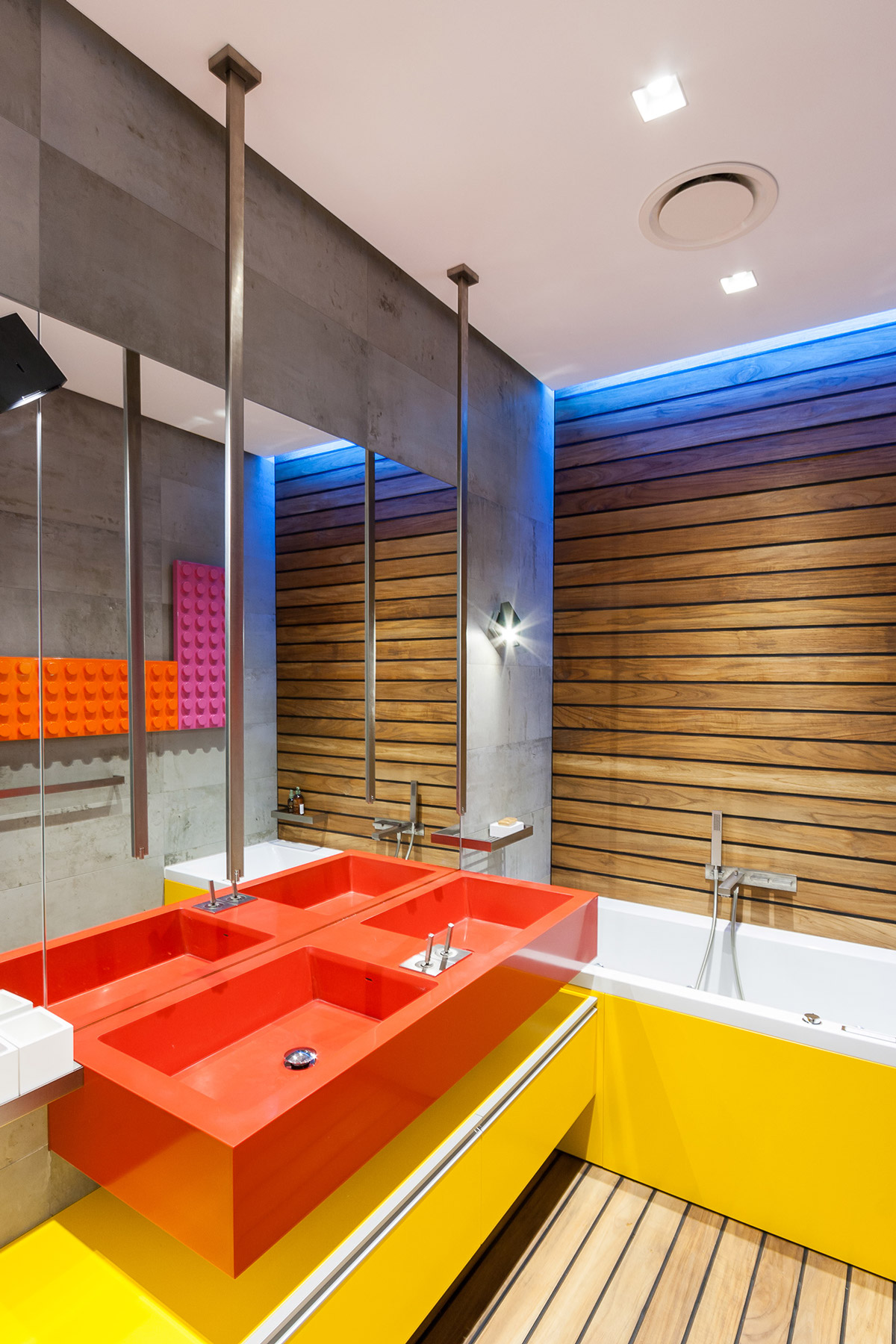 Bright Red Double Sinks - A colorful modern space for a stylish couple
