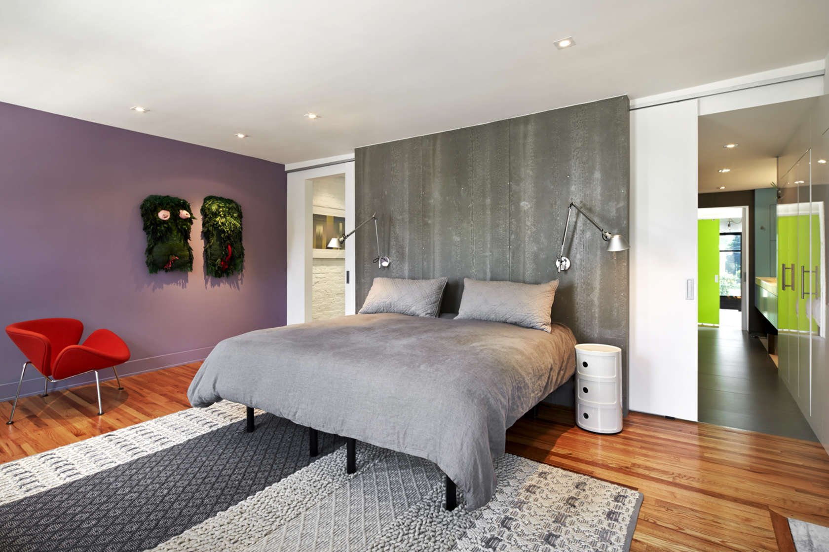 Colorful Bedroom Design - A modern row house for a fun couple with a love of cooking