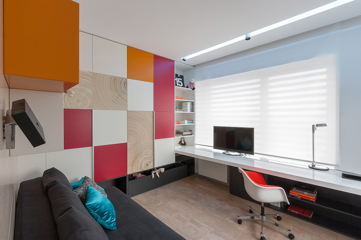 Colorful Checked Wall Design - A colorful modern space for a stylish couple