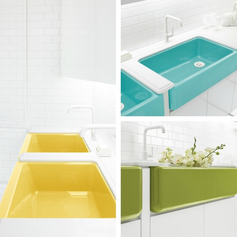 Another option to make the faucet and sink stand out is with the use of vibrant color as shown - Jonathan adler sink ...