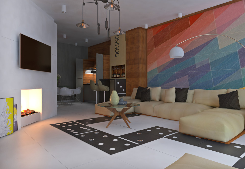Colorful Living Room - 5 apartment designs under 500 square feet