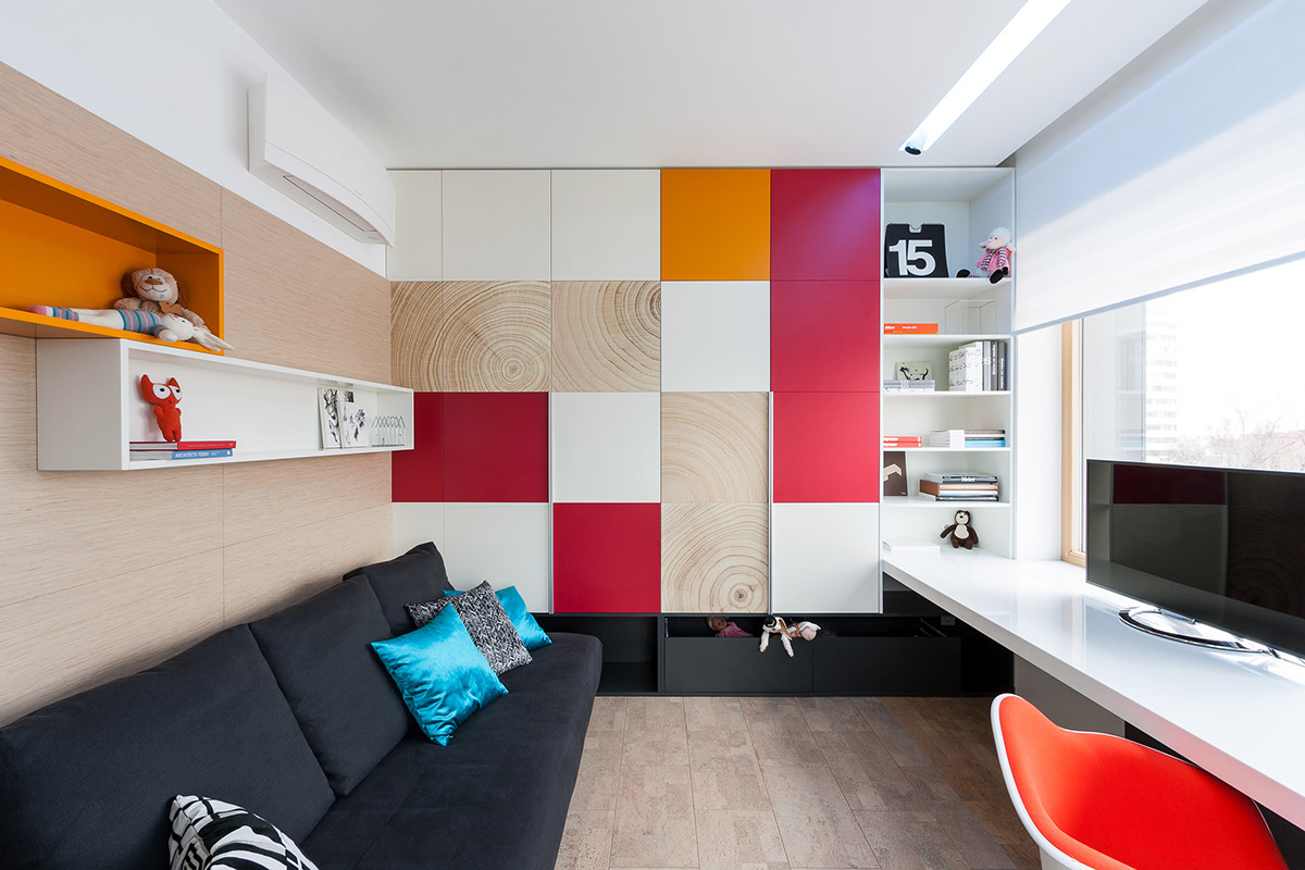 Colorful Wall Design - A colorful modern space for a stylish couple