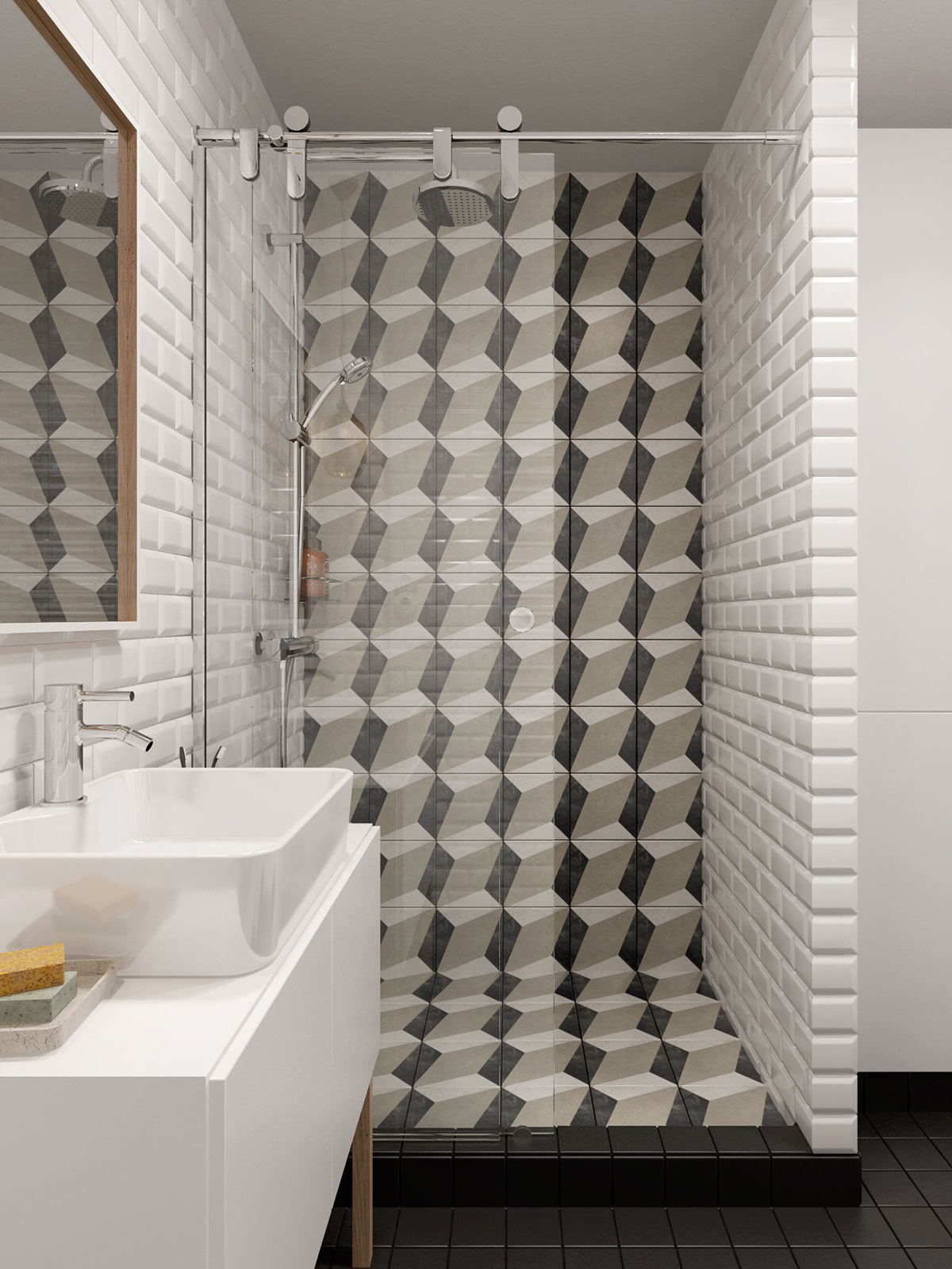 Cool Tiled Shower - A midcentury inspired apartment with scandinavian tendencies