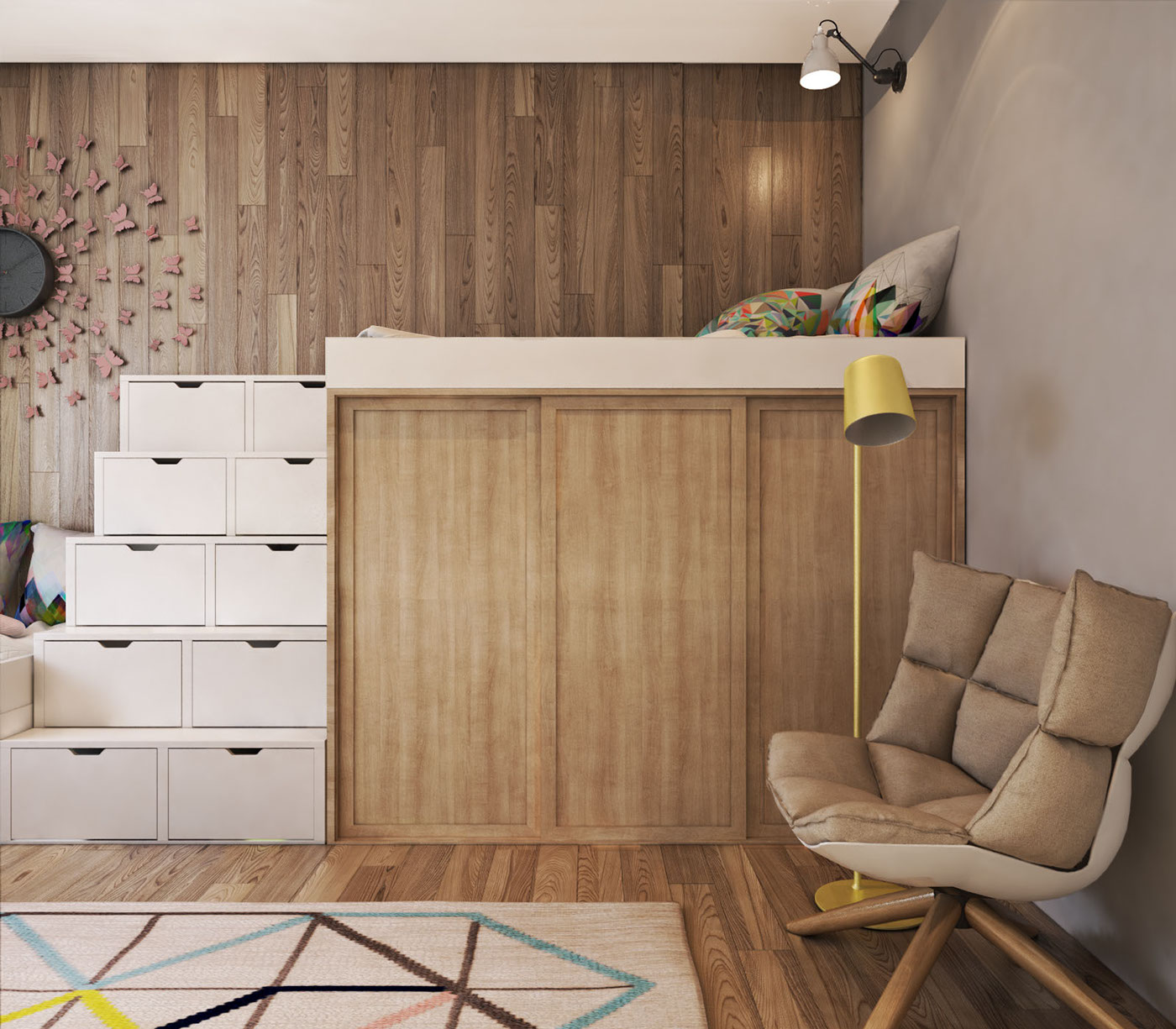 Cozy Modern Armchair - A contemporary apartment with lots of open space
