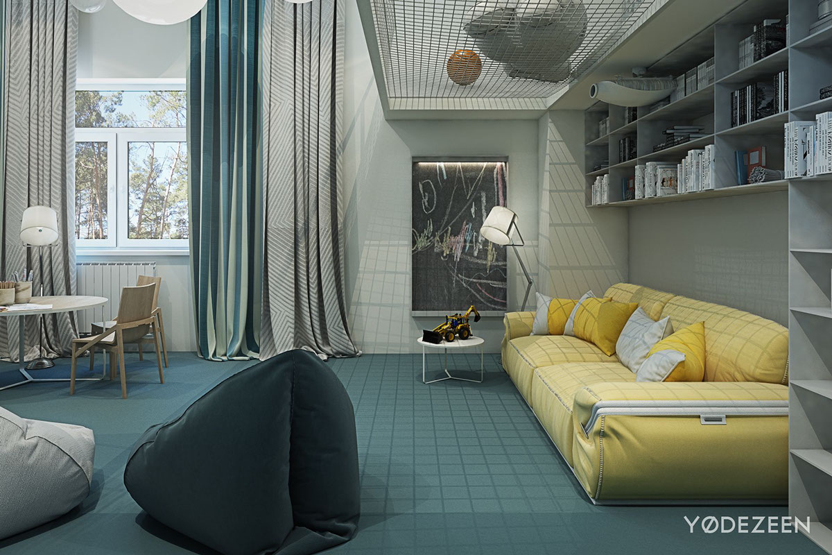 Cozy Yellow Sofa - A kids friendly apartment design with lots of playful features