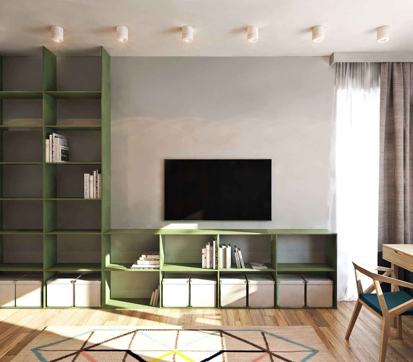 Custom Shelving - A contemporary apartment with lots of open space