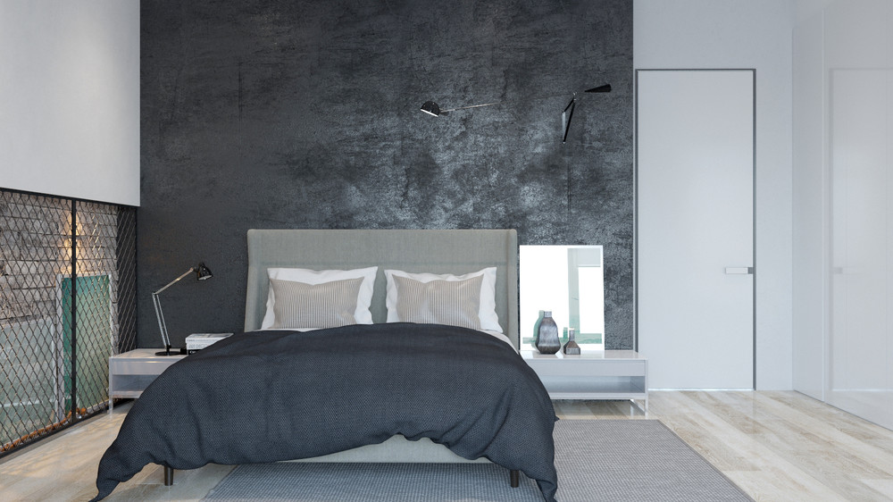 Dark Gray Duvet - Two sleek apartments with interior glass walls