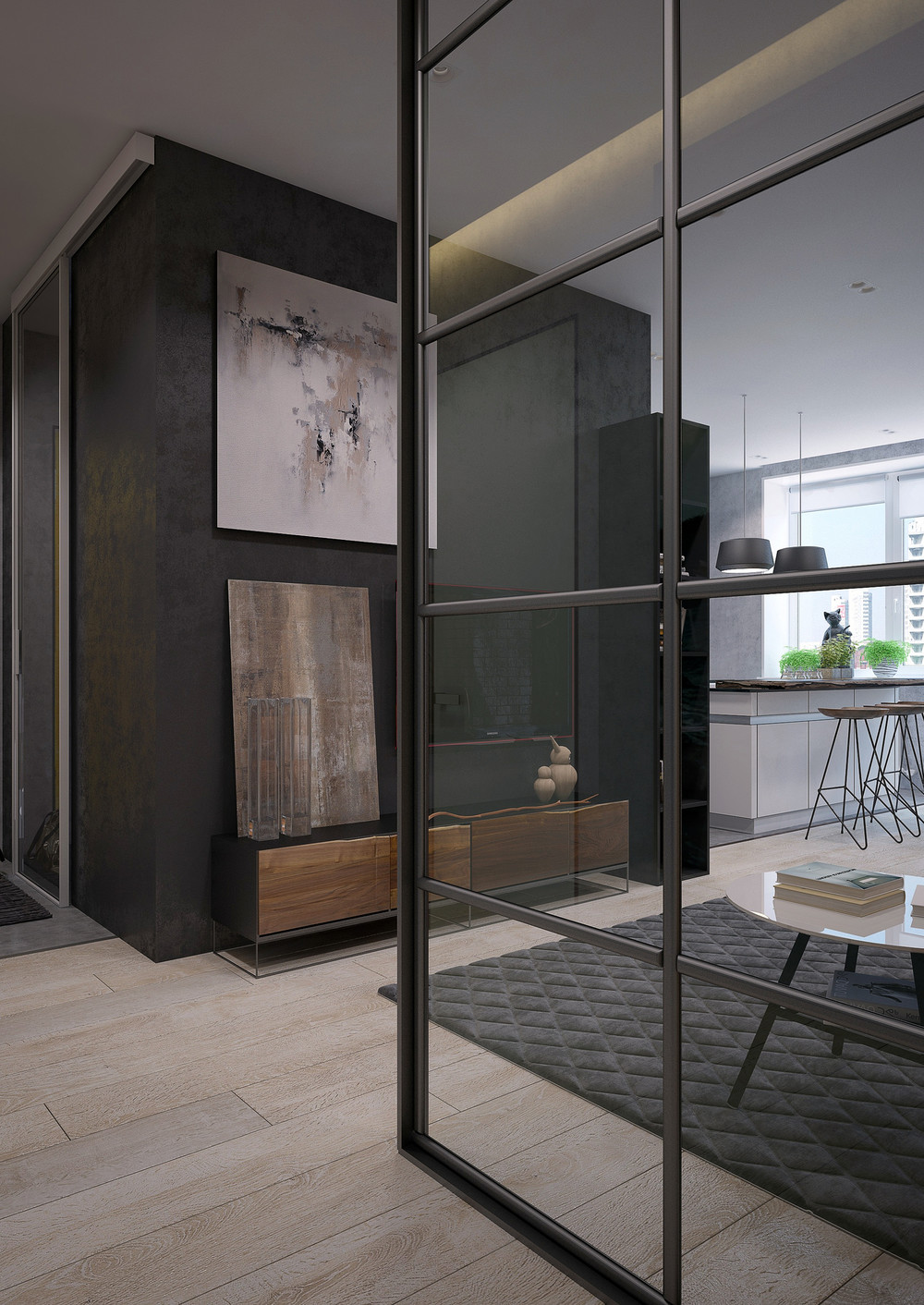 Two sleek apartments with interior glass walls for Window wall