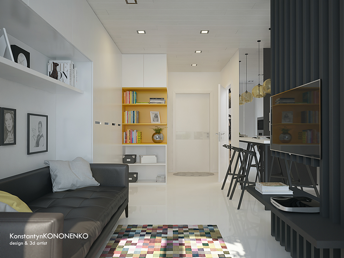 5 apartment designs under 500 square feet for Home design 50m2