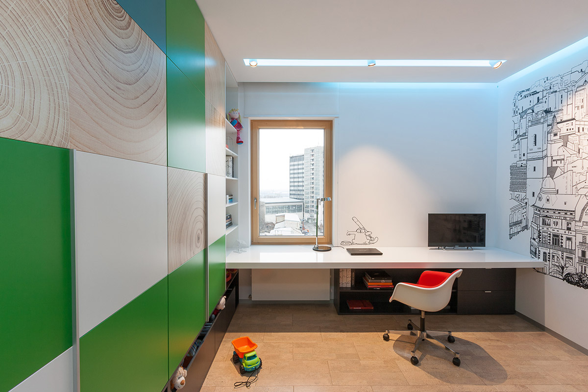 Kelly Green Wall Accents - A colorful modern space for a stylish couple