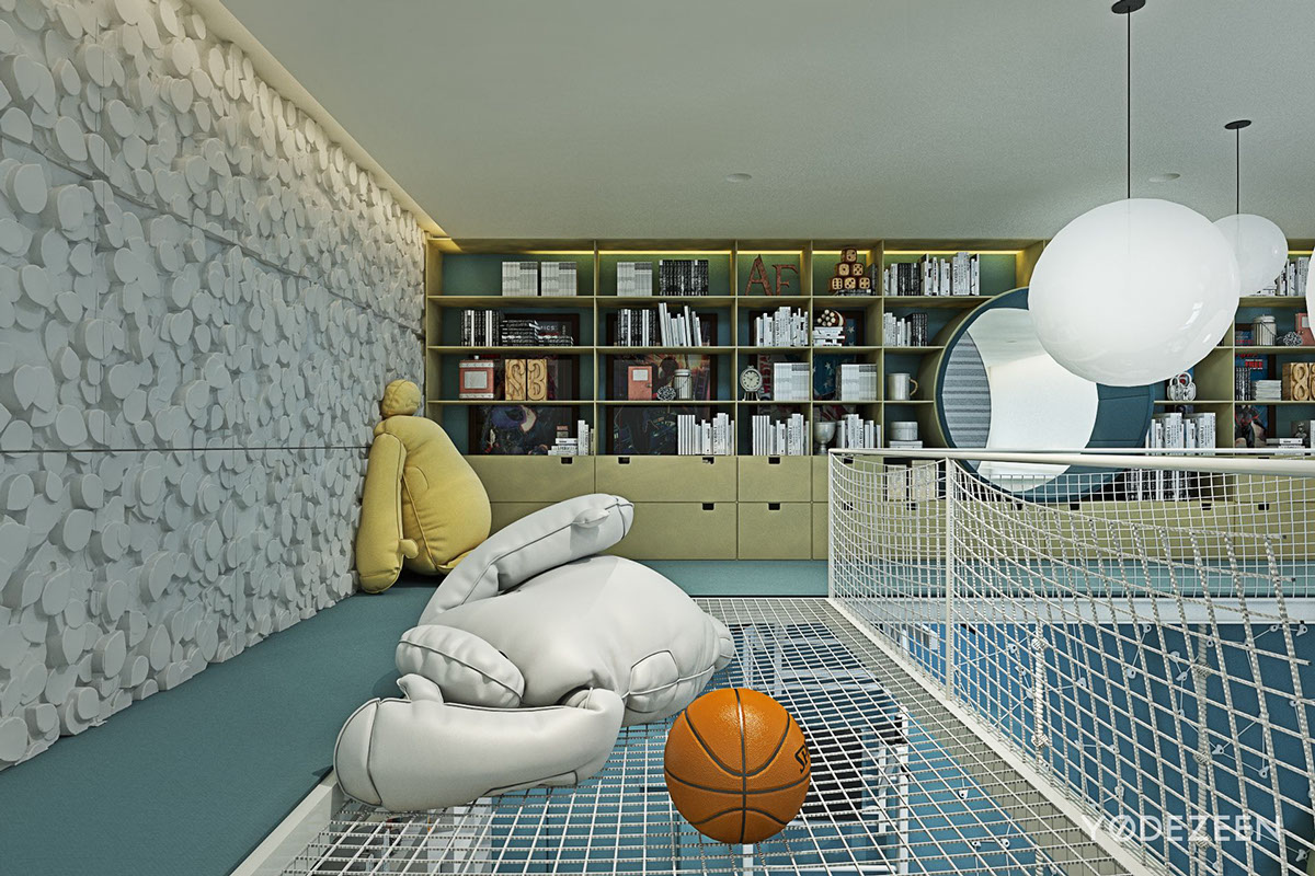 Kids Room Shelving - A kids friendly apartment design with lots of playful features