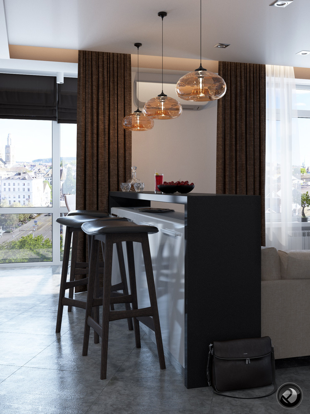 Leather Barstools - 5 apartment designs under 500 square feet