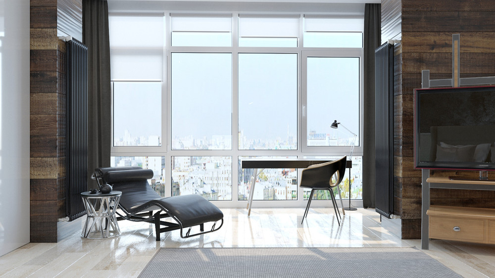 Leather Chaise - Two sleek apartments with interior glass walls