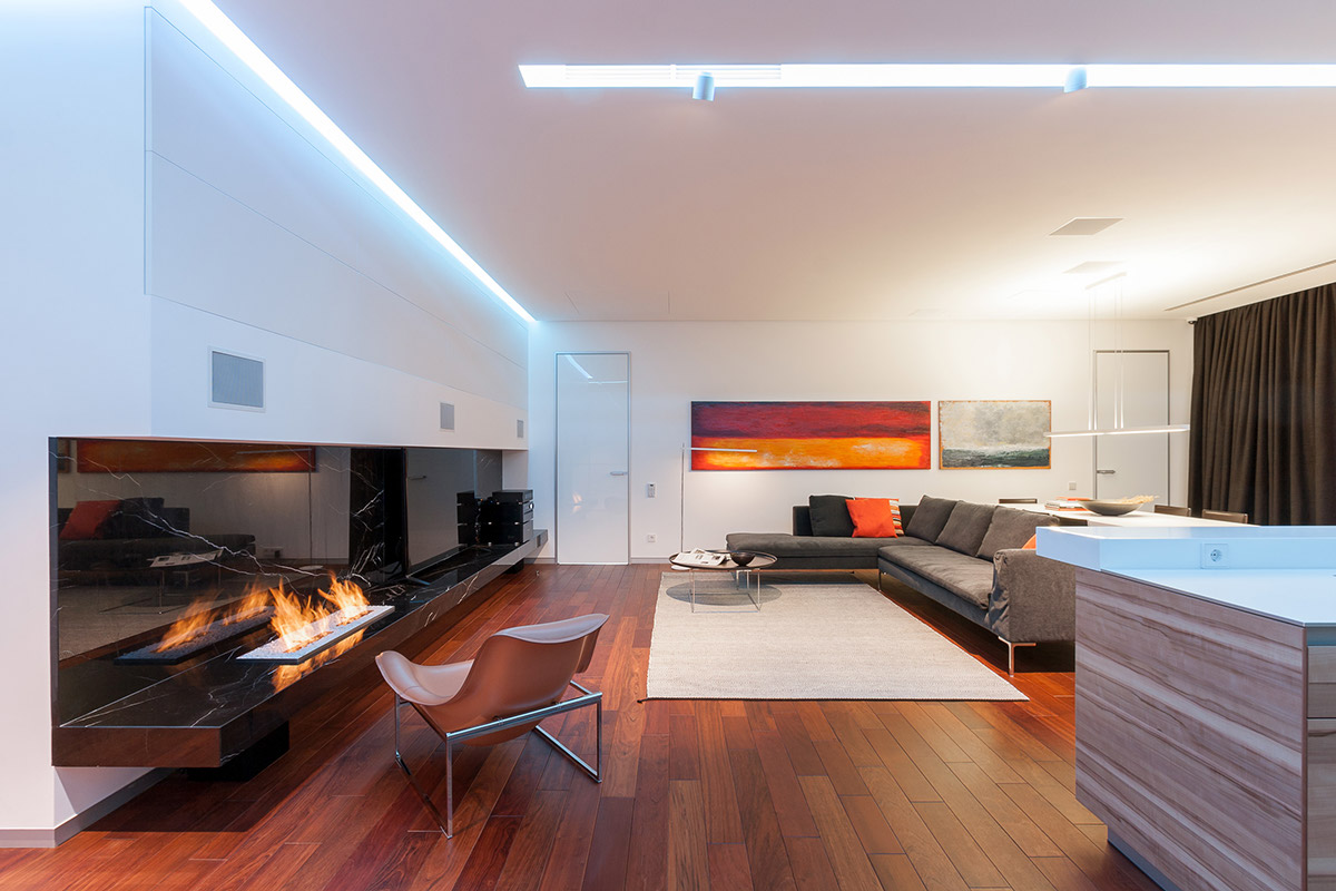 Luxury Wood Flooring - A colorful modern space for a stylish couple