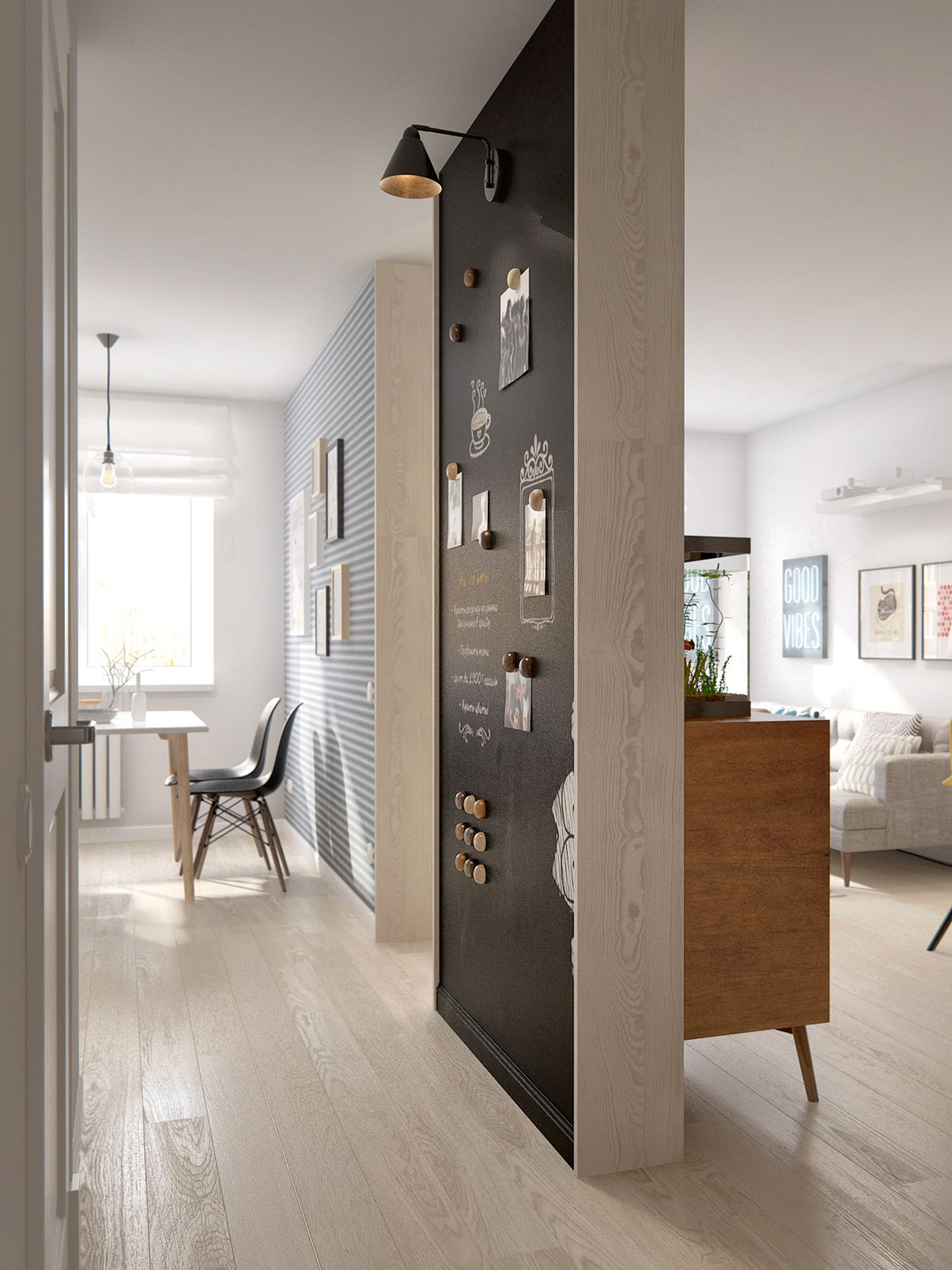 Magnetic Wall - A midcentury inspired apartment with scandinavian tendencies