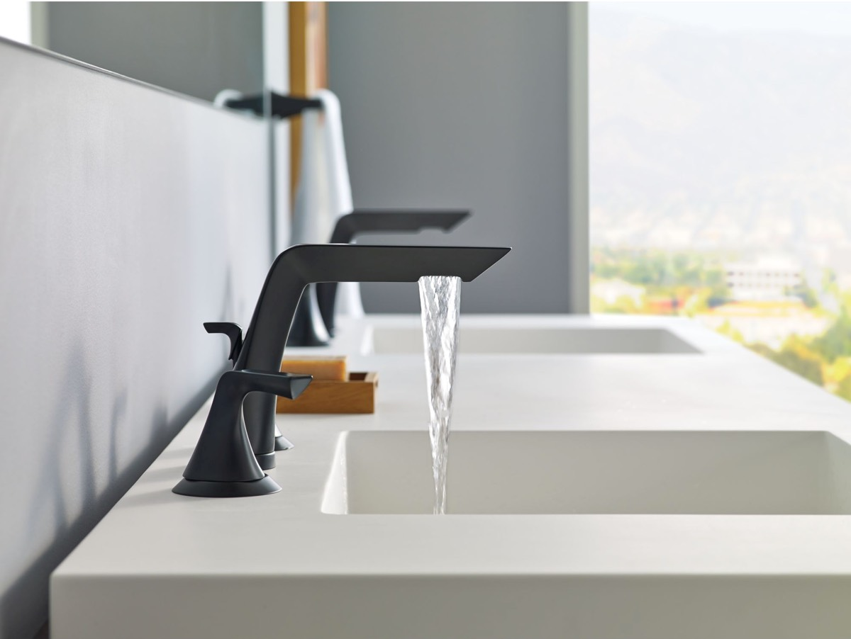 matte black modern faucet interior design ideas