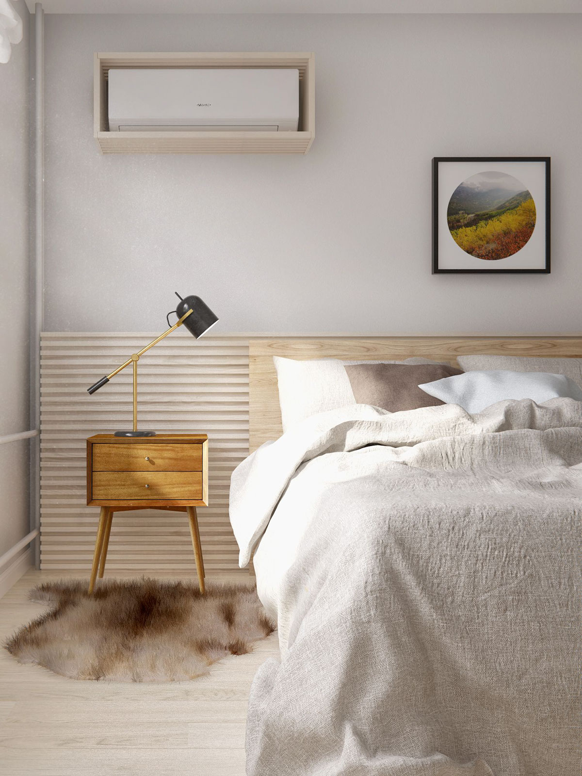 Fresh Everything has its place as is so necessary in the Scandinavian style while lots of black white and nice neutral wood create a fortable canvas on