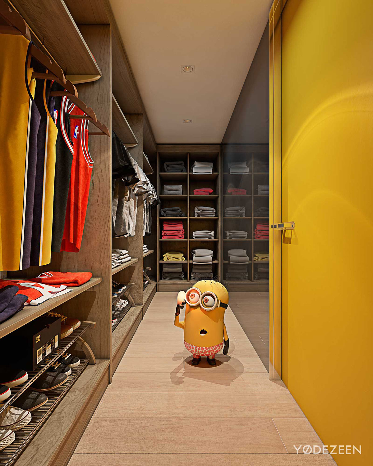Minion Closet Design - A kids friendly apartment design with lots of playful features