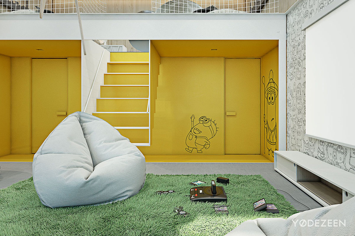 Minion Wall Graphic - A kids friendly apartment design with lots of playful features