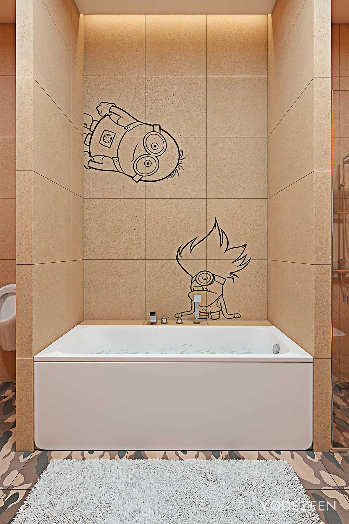Minions Bathroom - A kids friendly apartment design with lots of playful features