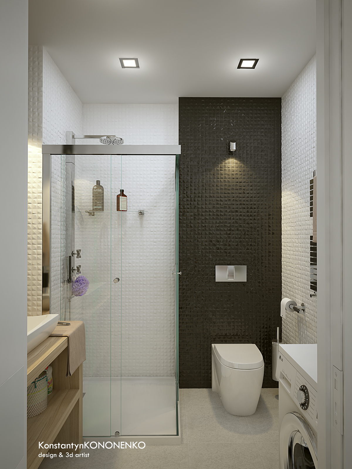 5 apartment designs under 500 square feet for Modern apartment bathroom ideas