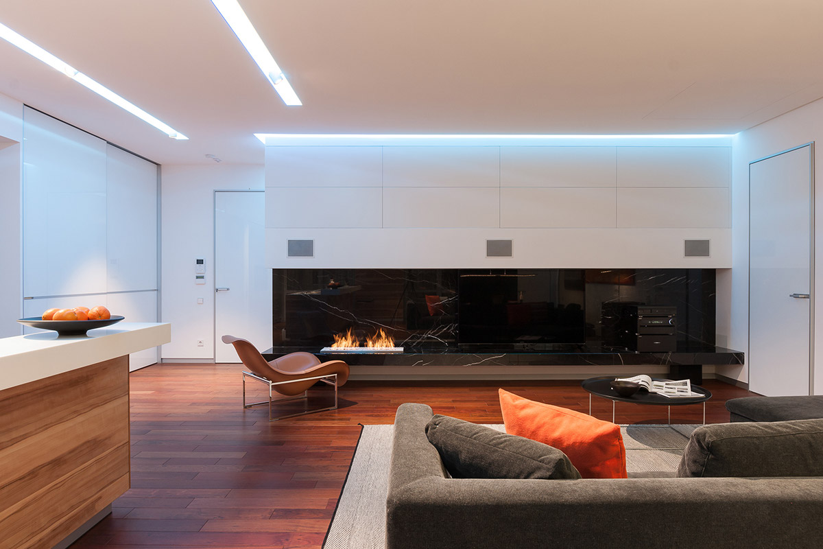 Modern Fireplace - A colorful modern space for a stylish couple