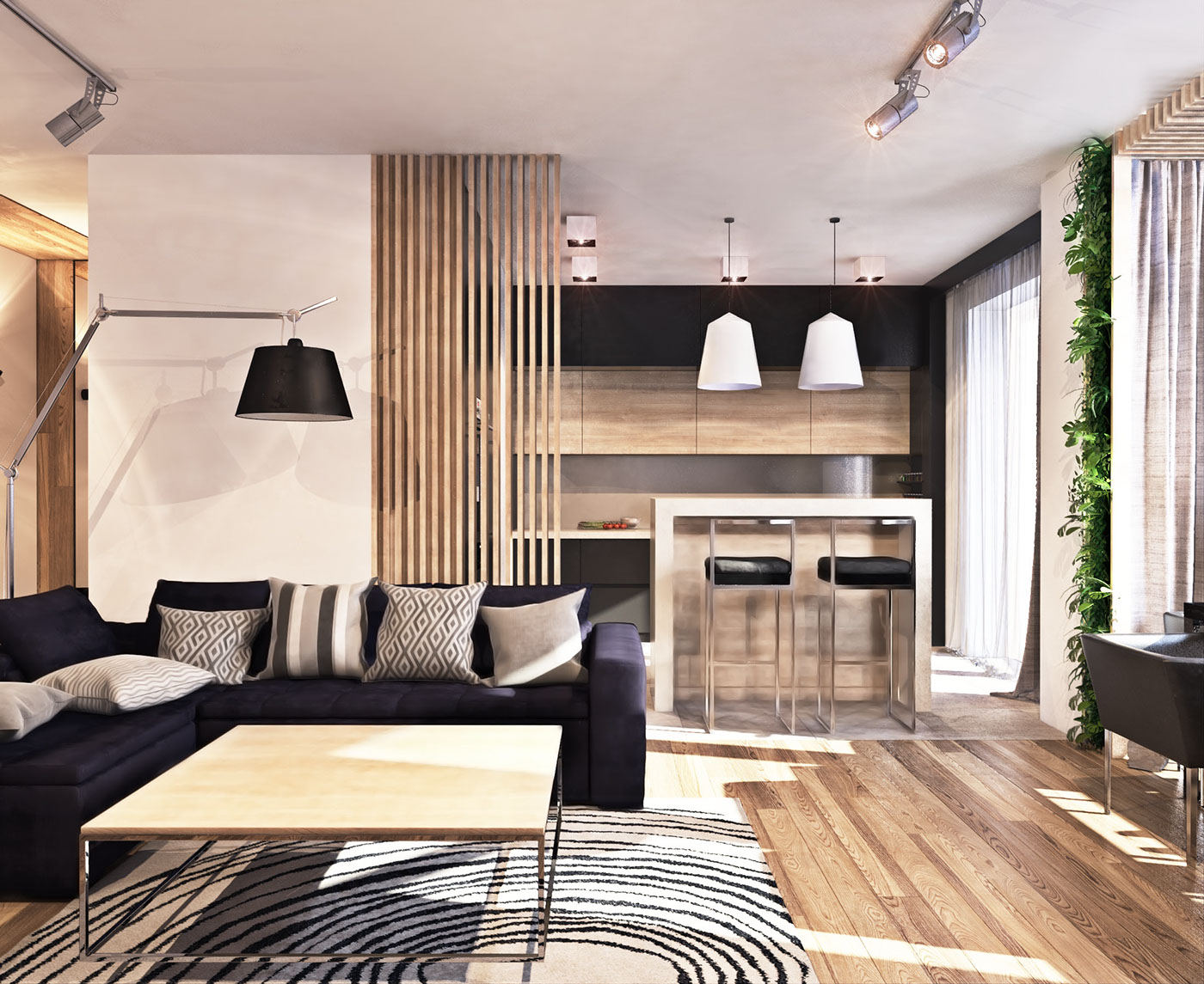 A contemporary apartment with lots of open space - Contemporary design for small living room ...