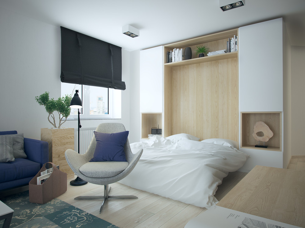 5 apartment designs under 500 square feet Modern murphy bed