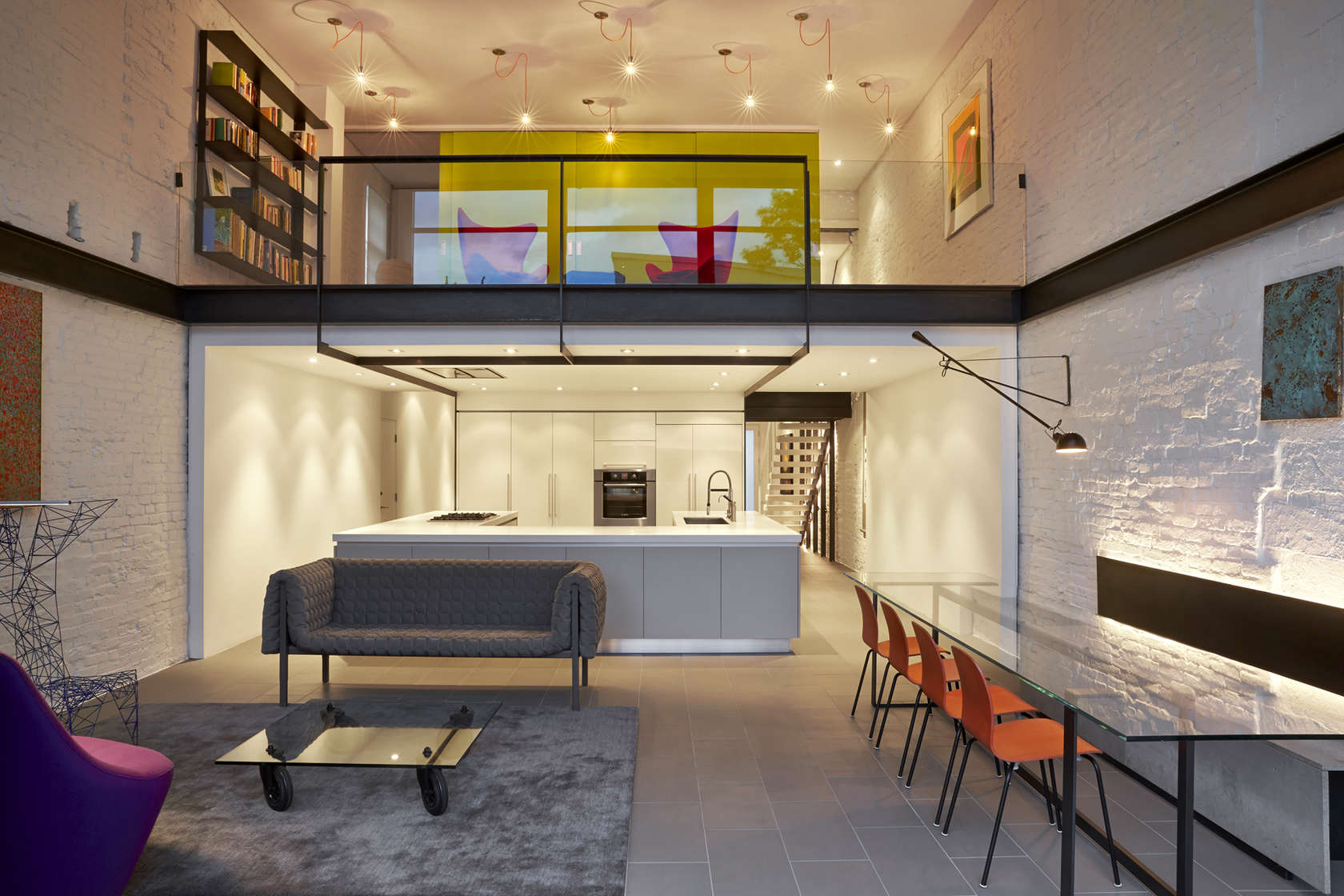Modern Open Floorplan - A modern row house for a fun couple with a love of cooking