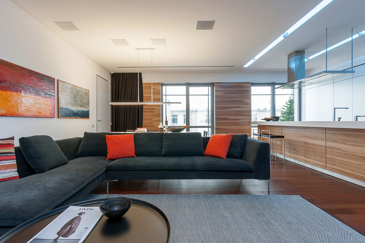 Modern Sectional - A colorful modern space for a stylish couple