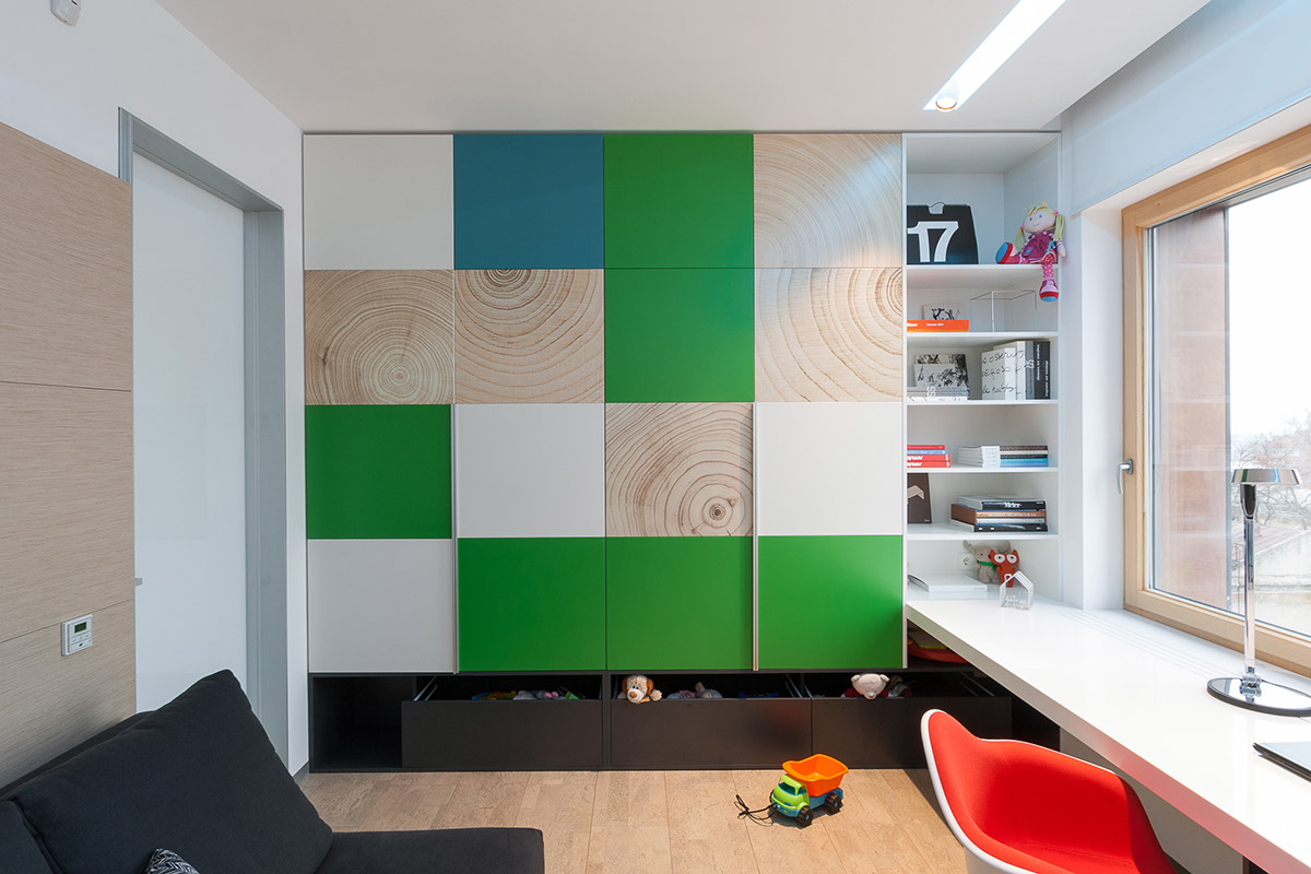 Modular Wall Design - A colorful modern space for a stylish couple