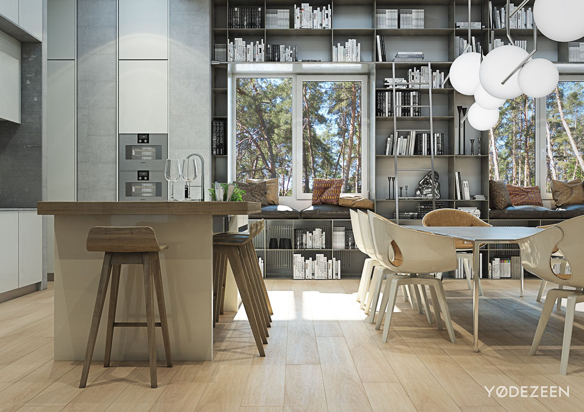 Molded Wood Barstools - A kids friendly apartment design with lots of playful features