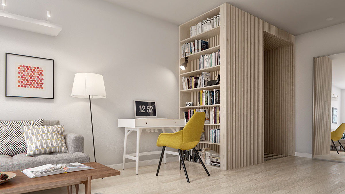 In The Entryway, A Creative Wood Slat Design Acts As An Open Coat Closet  And Creative Room Divider.